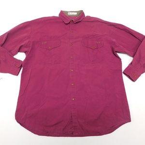 Columbia XL Dark Red Button Down Shirt  Cotton